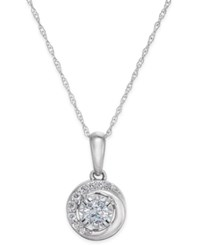 Macy's Diamond Swirl Pendant Necklace 1 4 Ct. T.W. In 14K White Or Rose Gold White Gold