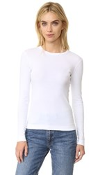 Three Dots Long Sleeve Crew Tee White