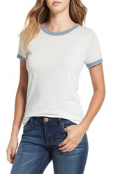 Obey Women's 'Sold Out' Ringer Tee White Sky Blue