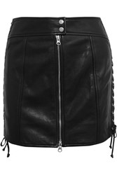 Mcq By Alexander Mcqueen Lace Up Leather Mini Skirt Black