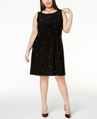 Msk Plus Size Imitation Pearl Shift Dress Black