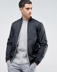 Solid Bomber Jacket In Black Black