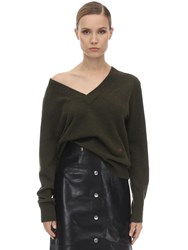 Victoria Beckham Double V Neck Cashmere Knit Sweater Army Green