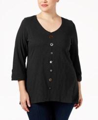 Jm Collection Plus Size Button Front Top Only At Macy's Deep Black