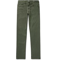 Faherty Slim Fit Stretch Cotton Twill Trousers Gray Green