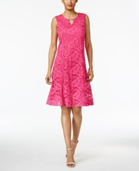 Jm Collection Petite Lace A Line Dress Jmc Steel Rose