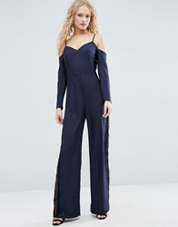 Asos Jumpsuit With Cold Shoulder And Lace Side Detail Navy Blue