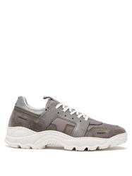 Ami Running Lucky 9 Suede And Mesh Trainers Grey
