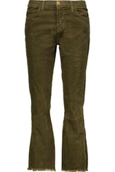 Current Elliott The Kick Cropped Mid Rise Corduroy Flared Jeans Army Green