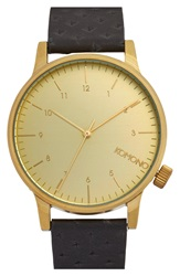 Komono 'Winston' Round Leather Strap Watch 42Mm Black Gold