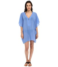 Michael Michael Kors Draped Solids Tunic Cover Up Crew Blue Women's Swimwear