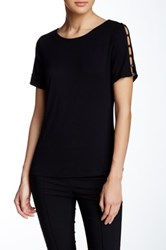 Cable And Gauge Button Shoulder Crew Neck Tee Black