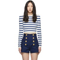 Balmain White And Blue Knit Striped Short Sweater