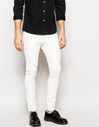 Asos Super Skinny Jeans In Leather Look White