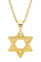 Steeltime Studded Star Of David Pendant Necklace Metallic