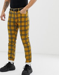 Pull And Bear Pullandbear Co Ord Slim Fit Jeans In Yellow Check