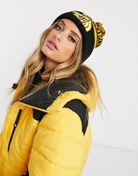 The North Face Retro Pom Beanie In Yellow Black