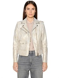 Golden Goose Deluxe Brand Metallic Wash Leather Biker Jacket