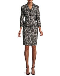 Albert Nipon Velvet Lace Peplum Jacket W Pencil Skirt Black