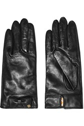 Tory Burch Bow Embellished Leather Gloves Black