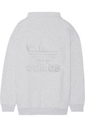 Adidas Originals Embossed Cotton Blend Fleece Sweatshirt Light Gray