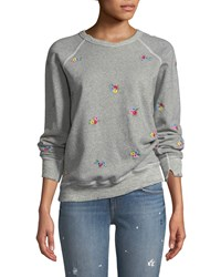 The Great College Sweatshirt W Floral Embroidery Gray Pattern