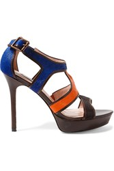 Lucy Choi London Wysteria Leather Trimmed Calf Hair Sandals Brown