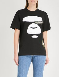 Aape By A Bathing Ape Printed Cotton Jersey T Shirt Black