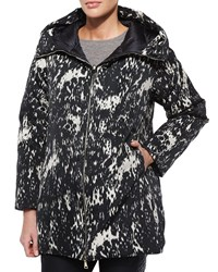 Moncler Colliers Reversible Solid Printed Puffer Coat Black White Size 3 Medium