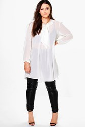 Boohoo Plus Elena Sheer Bow Front Shirt Ivory