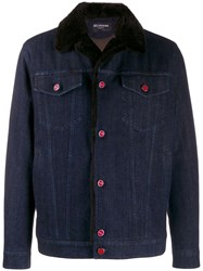 Kiton Fitted Denim Jacket Blue
