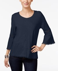 Style And Co Crochet Trim Bell Sleeve Top Only At Macy's Industrial Blue