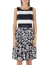 Marc Cain Floral Stripe Printed Dress Midnight Blue