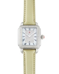 Michele Deco Diamond Pave Dial Watch Shale Green