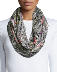 Raj Thick Stitch Loop Scarf Black Multi