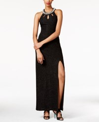 Teeze Me Juniors' Glittered Embellished Trim Gown