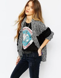 Blend She Block Panel Cardigan Grey