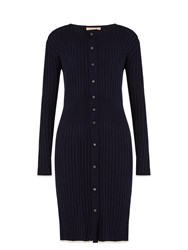 Brock Collection Katarine Silk Knit Cardigan Dress Navy