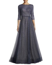 Rene Ruiz Elno 3 4 Sleeve Metallic Tulle Evening Gown Navy