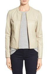 Women's Via Spiga Lambskin Leather And Knit Zip Front Collarless Jacket Sand