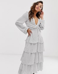 Na Kd Polka Dot Plunge Midi Dress In White
