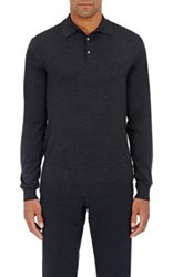 P Johnson Men's Wool Long Sleeve Polo Shirt Dark Grey