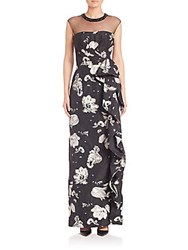Teri Jon Floral Printed Gown Black White