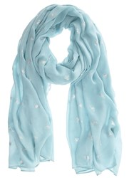 Mint Velvet Aqua Bumble Bee Motif Scarf Light Blue