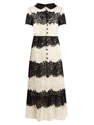 Red Valentino Short Sleeved Macrame Lace Dress Black White