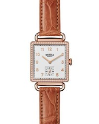 Shinola The Cass 28Mm Alligator Strap Watch With Diamonds Terra Cotta