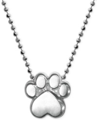 Little Activists By Alex Woo Paw Pendant Necklace In Sterling Silver
