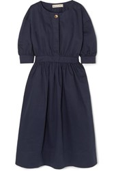 Marni Belted Cotton And Linen Blend Twill Midi Dress Navy
