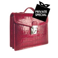 L.A.P.A. Cherry Croco Embossed Double Gusset Compact Briefcase