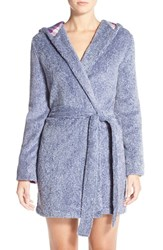 Women's Jane And Bleecker New York Plush Flannel Robe Patriot Blue